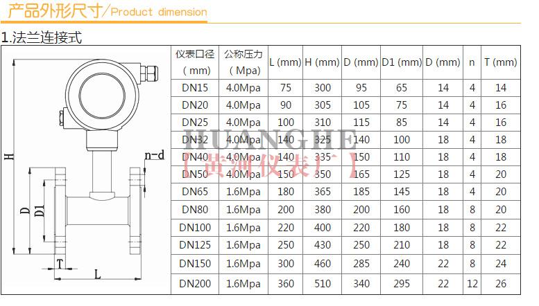 黄河仪表涡轮流量计产品外形尺寸